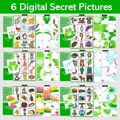 Beginning Sounds  6 Secret Picture Puzzles using PowerPoint