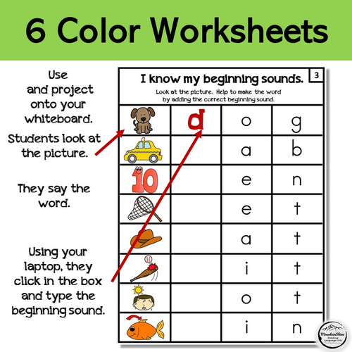 Beginning Sounds  6 Worksheets for PowerPoint or Print