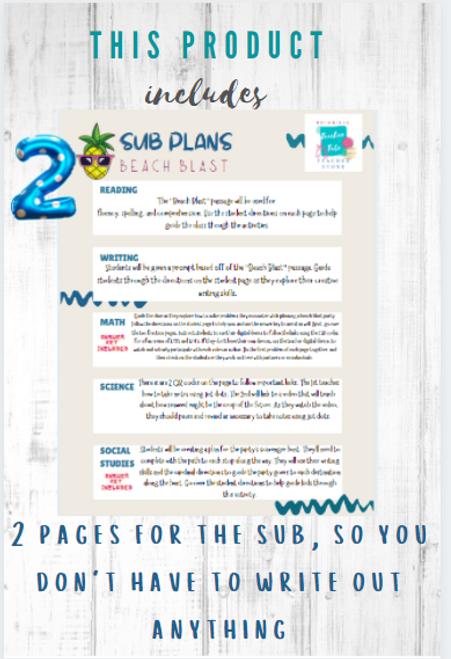 Beach Bash-No Prep Sub Plans