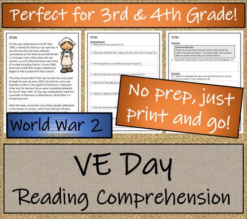 VE Day Close Reading Activity | 3rd Grade & 4th Grade