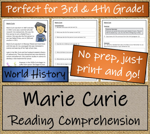 Marie Curie Close Reading Activity | 3rd Grade & 4th Grade