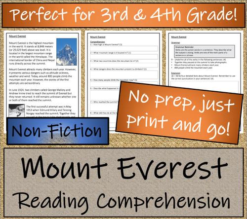 Mount Everest Close Reading Activity | 3rd Grade & 4th Grade
