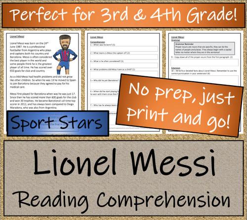 Lionel Messi Close Reading Activity | 3rd Grade & 4th Grade