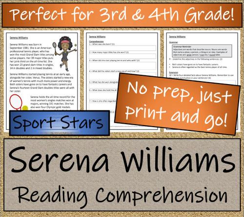 Serena Williams Close Reading Activity | 3rd Grade & 4th Grade