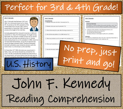 John F. Kennedy Close Reading Activity | 3rd Grade & 4th Grade