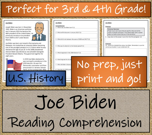 Joe Biden Close Reading Activity | 3rd Grade & 4th Grade