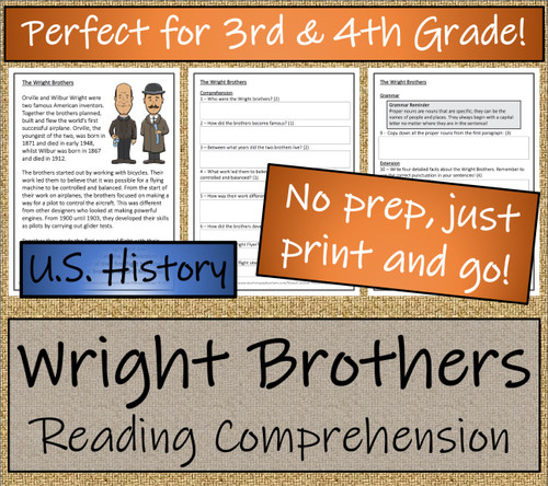 The Wright Brothers Close Reading Activity | 3rd Grade & 4th Grade