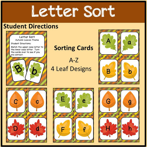 Letter Match with Worksheets Autumn Leaf Theme