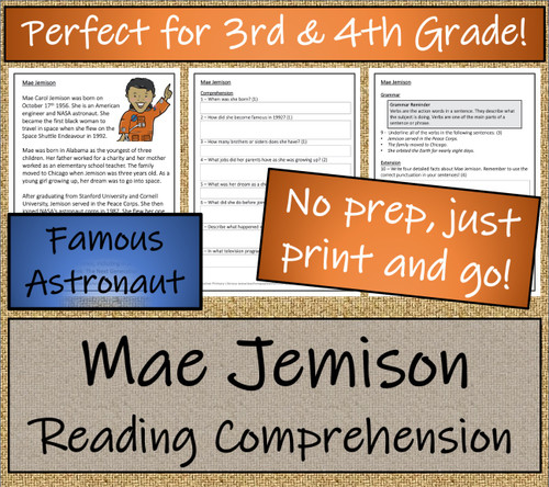 Mae Jemison Close Reading Activity | 3rd Grade & 4th Grade