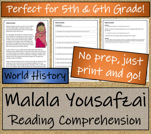 Malala Yousafzai Close Reading Unit | 5th Grade & 6th Grade