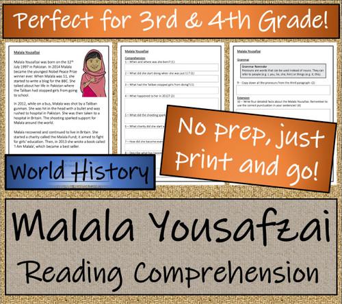 Malala Yousafzai Close Reading Activity | 3rd Grade & 4th Grade