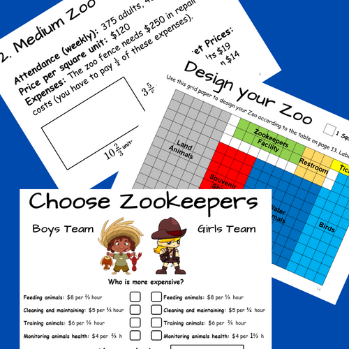 CREATE ZOO PBL Math Enrichment Summer FRACTIONS Project Based Learning Activity