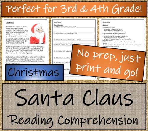Santa Claus Close Reading Activity | 3rd Grade & 4th Grade