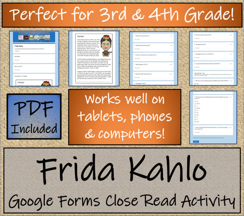 Frida Kahlo Close Reading Activity Digital & Print | 3rd Grade & 4th Grade