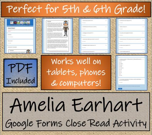 Amelia Earhart Close Reading Activity Digital & Print | 5th Grade & 6th Grade