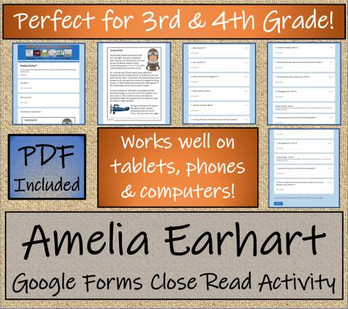 Amelia Earhart Close Reading Activity Digital & Print | 3rd Grade & 4th Grade