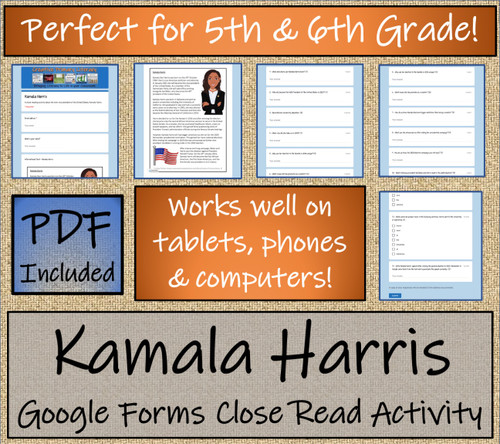 Kamala Harris Close Reading Activity Digital & Print | 5th Grade & 6th Grade