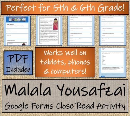 Malala Yousafzai Close Reading Activity Digital & Print | 5th Grade & 6th Grade