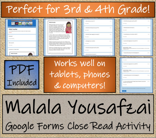 Malala Yousafzai Close Reading Activity Digital & Print | 3rd Grade & 4th Grade