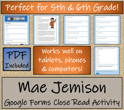 Mae Jemison Close Reading Activity Digital & Print | 5th Grade & 6th Grade