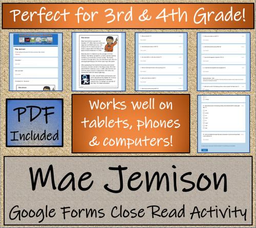 Mae Jemison Close Reading Activity Digital & Print | 3rd Grade & 4th Grade