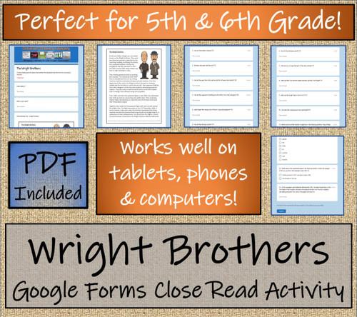 Wright Brothers Close Reading Activity Digital & Print   5th Grade & 6th Grade