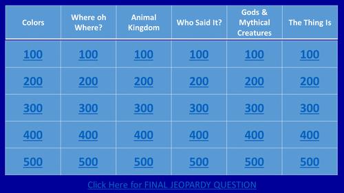 Rick Riordan's Percy Jackson and the Lightning Thief Jeopardy