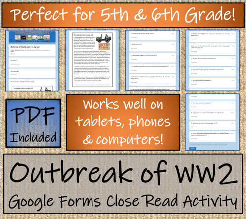 Outbreak of WW2 Close Reading Activity Digital & Print | 5th Grade & 6th Grade