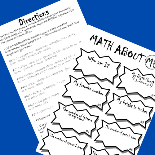 FREE Back to School Get To Know You MATH Figure Me Out Math About Me Activities