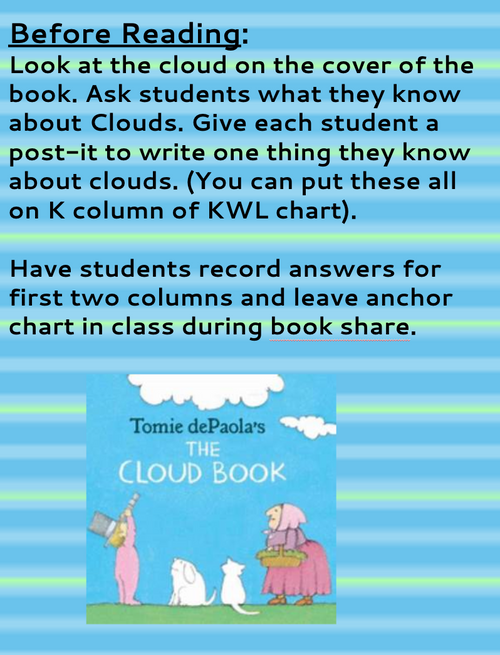 THE CLOUD BOOK BY TOMIE dePAOLA READING & ACTIVITY PACK