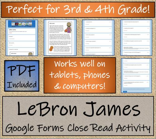 LeBron James Close Reading Activity Digital & Print   3rd Grade & 4th Grade
