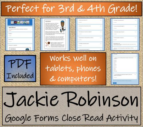 Jackie Robinson Close Reading Activity Digital & Print   3rd Grade & 4th Grade