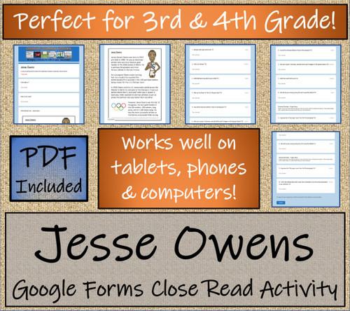 Jesse Owens Close Reading Activity Digital & Print   3rd Grade & 4th Grade