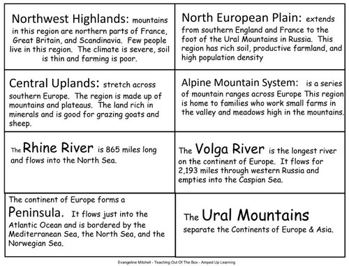 World Cultures: Europe Card Sort