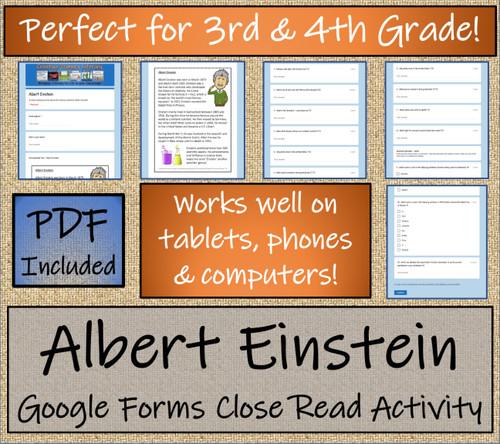 Albert Einstein Close Reading Activity Digital & Print   3rd Grade & 4th Grade
