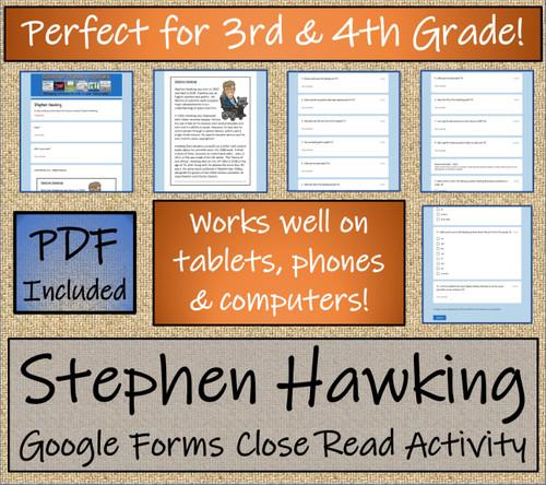 Stephen Hawking Close Reading Activity Digital & Print | 3rd Grade & 4th Grade