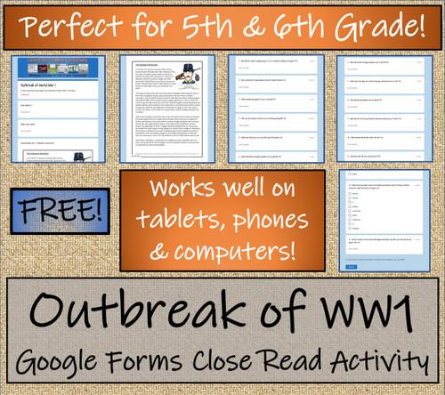 World War I Outbreak Close Reading Activity Digital & Print   5th & 6th Grade