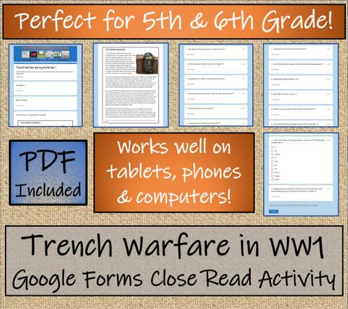 Trench Warfare World War I Close Reading Digital & Print   5th & 6th Grade