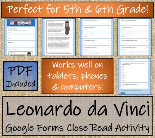 Leonardo da Vinci Close Reading Activity Digital & Print | 5th Grade & 6th Grade