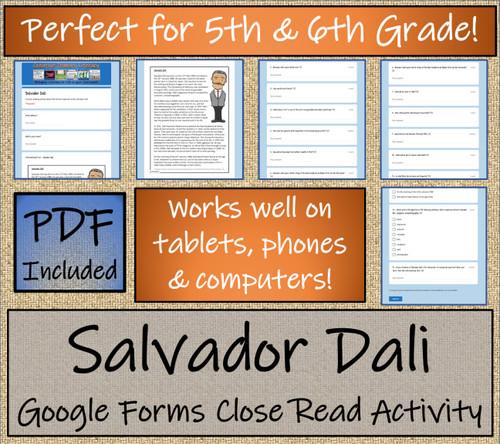 Salvador Dali Close Reading Activity Digital & Print | 5th Grade & 6th Grade