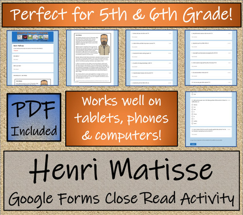 Henri Matisse Close Reading Activity Digital & Print | 5th Grade & 6th Grade