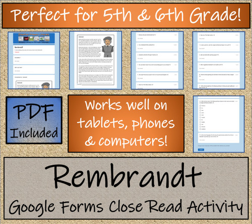 Rembrandt Close Reading Activity Digital & Print | 5th Grade & 6th Grade