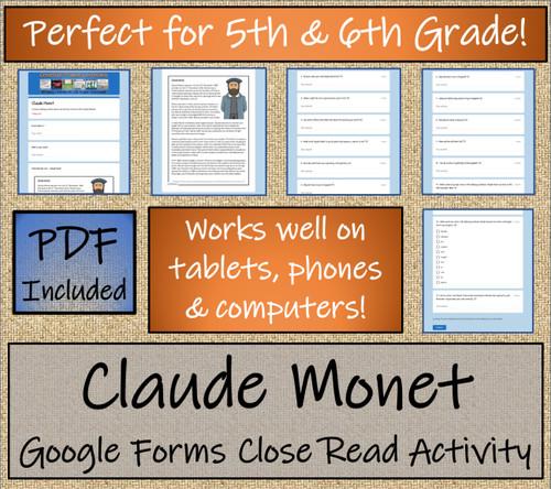 Claude Monet Close Reading Activity Digital & Print | 5th Grade & 6th Grade