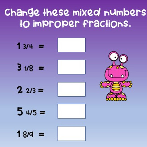 Fractions Review - Mixed Numbers and Improper Fractions