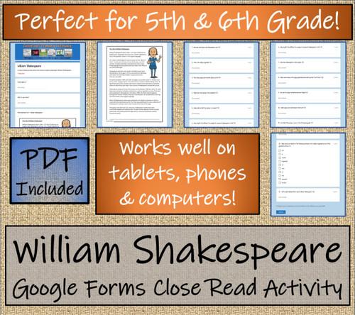 William Shakespeare Close Reading Activity Digital & Print | 5th & 6th Grade