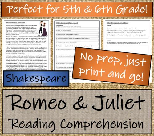 Romeo and Juliet Close Reading Activity | 5th Grade & 6th Grade
