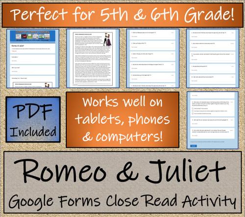 Romeo and Juliet Close Reading Activity Digital & Print | 5th Grade & 6th Grade