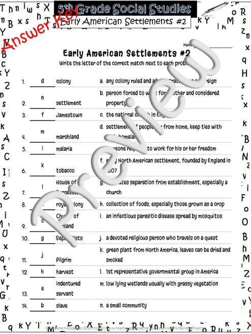 Early American Settlements~Match'Em Vocab #2~Social Studies Weekly~NO PREP