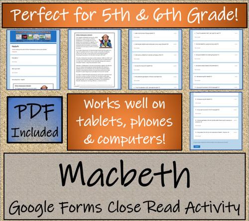 Macbeth Close Reading Activity Digital & Print | 5th Grade & 6th Grade