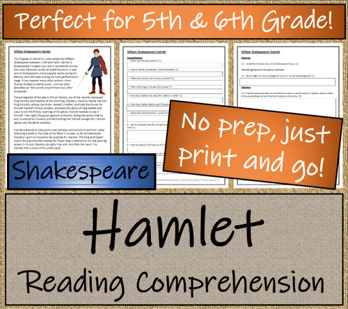William Shakespeare's Hamlet Close Reading Activity | 5th Grade & 6th Grade